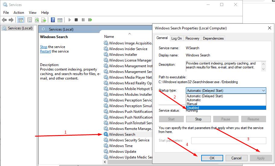cara mematikan search indexing